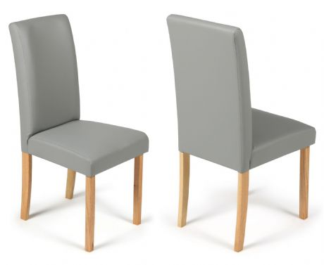 Torino Matt Grey Faux Leather Dining Chairs  1/2 price Sale Now On Your Price Furniture